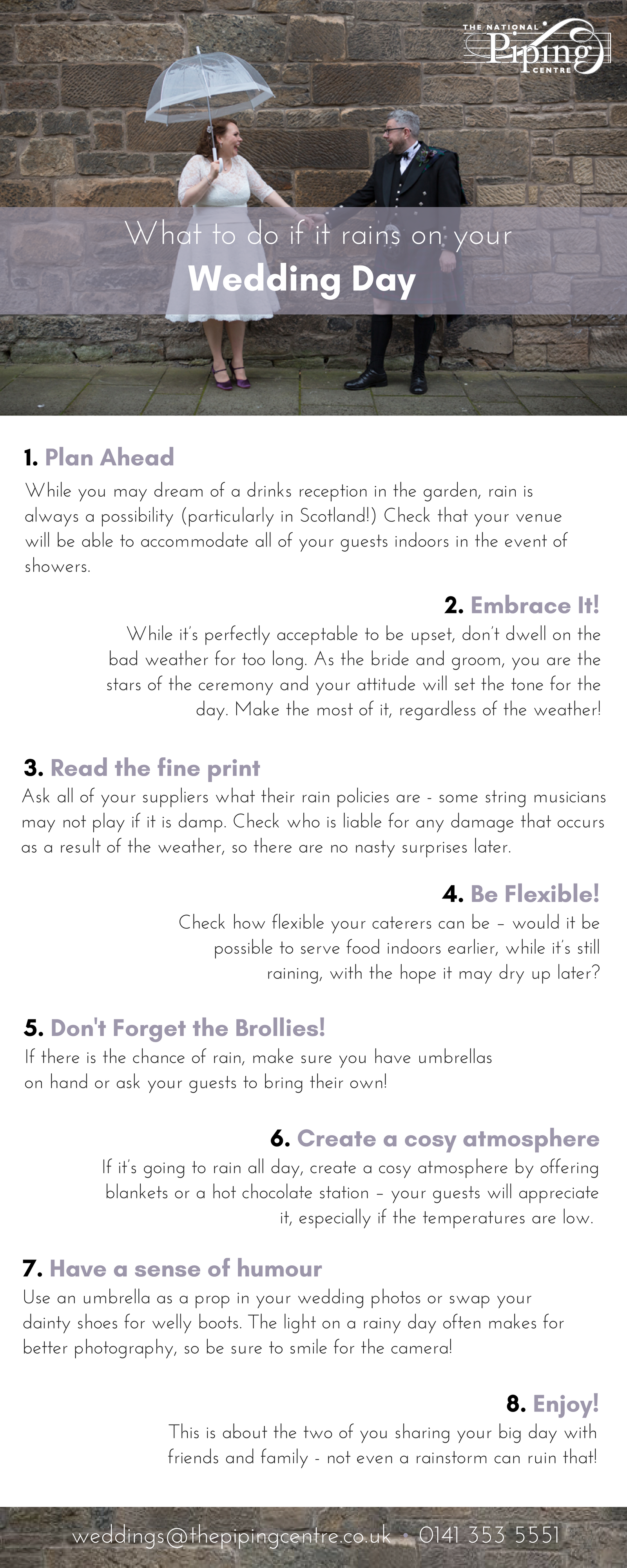Rain On Your Wedding Day.What To Do If It Rains On Your Wedding Day The National Piping Centre
